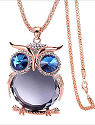 cheap -Women's Blue Gray Cubic Zirconia Long Necklace Classic Owl Simple Classic Fashion Chrome Gold Blue Silver 80 cm Necklace Jewelry 1pc For Gift Daily Festival