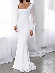cheap -Sheath / Column Scoop Neck Sweep / Brush Train Chiffon / Tulle Bridesmaid Dress with Bow(s) / Ruching