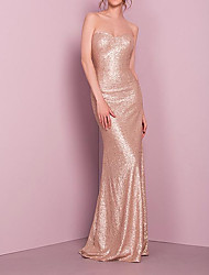 cheap -Sheath / Column Sweetheart Neckline Floor Length Stretch Satin / Sequined Bridesmaid Dress with Sequin