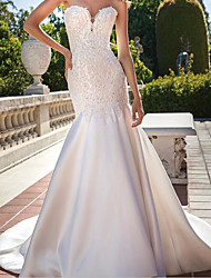 cheap -Mermaid / Trumpet Wedding Dresses Strapless Sweep / Brush Train Chiffon Over Satin Sleeveless Country Plus Size with Beading Appliques 2021