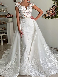 cheap -Mermaid / Trumpet Wedding Dresses V Neck Sweep / Brush Train Polyester Cap Sleeve Country Plus Size with Lace Insert Appliques 2020