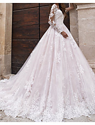 cheap -A-Line Wedding Dresses Jewel Neck Sweep / Brush Train Lace Tulle Polyester Long Sleeve Country Plus Size with Lace Embroidery 2020