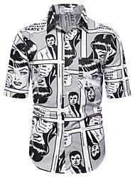 tanie -Męskie Portret Nadruk Koszula Hawajskie Codzienny Biały