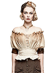 cheap -Plague Doctor Retro Vintage Gothic Steampunk Blouse / Shirt Masquerade Women's Cotton Costume Coffee Vintage Cosplay Event / Party Half Sleeve