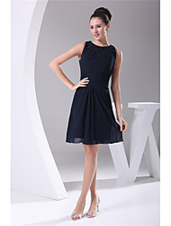 cheap -A-Line Mother of the Bride Dress Plus Size Jewel Neck Knee Length Chiffon Sleeveless with Beading Ruching 2020