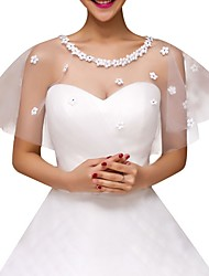 cheap -Short Sleeve Collars Tulle Wedding Shawl & Wrap With Solid