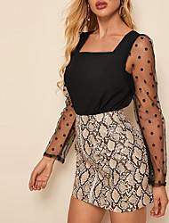 cheap -New 2020 Women's Splicing Dot Mesh Sleeve Blouse
