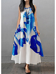 cheap -Women's Maxi Blue Dress Leisure Spring Loose Print M L Loose