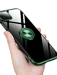cheap -Finger Ring Holder Stand Case For Apple iPhone 11 Pro Max XR XS Max X 8 Plus 7 Plus 6 Plus Transparent Plating TPU Phone Cover Green Accessories
