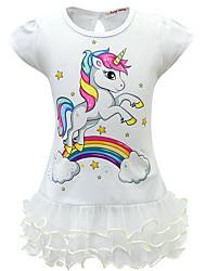 cheap -Kids Girls' Active Sweet Unicorn Patchwork Cartoon Layered Mesh Short Sleeve Above Knee Dress Purple