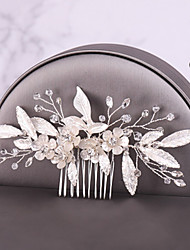 cheap -Women's Hair Combs Hair Jewelry For Wedding Engagement Party Birthday Wedding Crystal Alloy Silver 1pc
