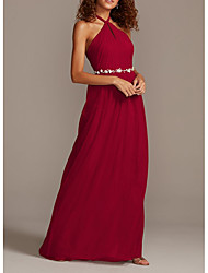 cheap -Sheath / Column Halter Neck Floor Length Chiffon Bridesmaid Dress with Sash / Ribbon / Pleats