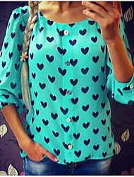 cheap -Women's Polka Dot Print Shirt Daily Blue / Red / Green