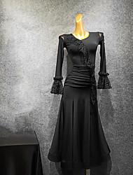 Недорогие -платья для бальных танцев оборки для женщин / рюши / тренировки с разрезом / с длинными рукавами из сетки / платье из молочного волокна 2020