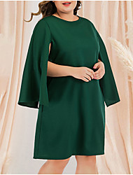 cheap -Women's Plus Size Tunic Dress - Long Sleeve Solid Color Pleated Patchwork Casual Daily Flare Cuff Sleeve Belt Not Included Green L XL XXL XXXL XXXXL