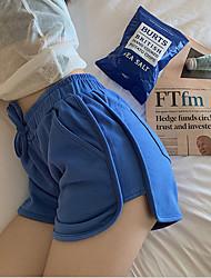 cheap -Women's Basic Loose Shorts Pants - Solid Colored Cotton White Black Blue S / M / L