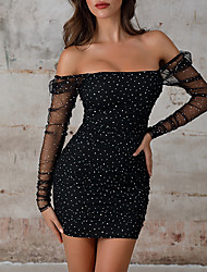 cheap -Womens Black Casual Chiffon Shein Lace Sleeve Sequin Bodycon Club Dress  MM0252
