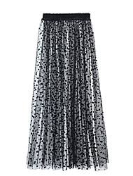 cheap -Women's Dress / Going out Active / Street chic Pencil Skirts - Polka Dot Tulle Black S M L / Loose