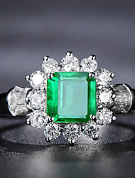 cheap -3 carat Synthetic Emerald Ring Alloy For Women's Emerald cut Antique Luxury Bridal Wedding Party Evening Formal High Quality Pave