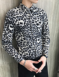 cheap -Men's Party / Evening Ceremony Suits Standard Fit Single Breasted More-button Leopard Print Polyester