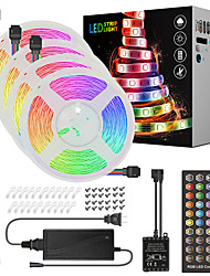 cheap -20M(4x5M) LED Light Strips RGB Tiktok Lights Music Sync Timed Remote Waterproof Flexible 5050 SMD 600 LEDs IR 40 Key Controller with Installation Package 12V 8A Adapter Kit