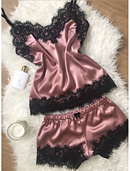 cheap -Women's Lace Suits Nightwear Color Block Wine Yellow Blushing Pink S M L