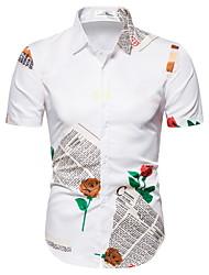 tanie -Męskie Geometric Shape Róża Nadruk Koszula Podstawowy Codzienny Biały / Czarny