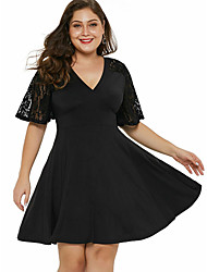cheap -Women's Plus Size Skater Dress - Short Sleeves Solid Color Lace Patchwork Spring & Summer V Neck Basic Daily Flare Cuff Sleeve Loose Wine Black XL XXL XXXL XXXXL XXXXXL