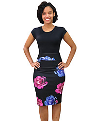 cheap -Women's Daily Wear Basic Bodycon Skirts - Geometric Print Black S M L
