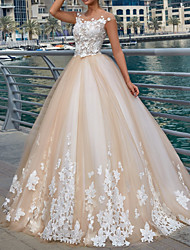 cheap -Ball Gown Wedding Dresses Jewel Neck Sweep / Brush Train Lace Tulle Polyester Cap Sleeve Country Plus Size with Embroidery Appliques 2021