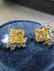 cheap -5 carat Synthetic Diamond Earrings Alloy For Women's Square Cut Ladies Stylish Antique Luxury Wedding Party Evening Formal High Quality Retro 1 Pair