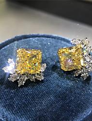 Недорогие -5 карат Синтетический алмаз Серьги Сплав Назначение Жен. Квадратное сокращение Дамы Стиль Античный Роскошь Свадьба Вечерние Официальные Высокое качество Ретро 1 пара
