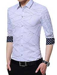 cheap -Men's Daily Work Business / Basic Shirt - Leopard / Plaid Purple