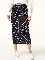 cheap -women's fashion geometric printing elastic knitting slim fit buttock skirt