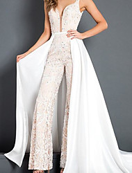 cheap -Jumpsuits Wedding Dresses V Wire Floor Length Polyester Sleeveless Glamorous Plus Size with Beading 2020