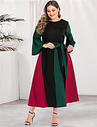 cheap -Women's Plus Size Maxi Sheath Dress - Long Sleeve Color Block Solid Color Patchwork Basic Casual Street chic Party Going out Flare Cuff Sleeve Red L XL XXL XXXL XXXXL
