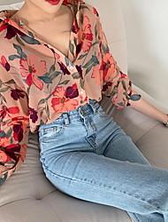 cheap -Women's Geometric Print Shirt Daily Shirt Collar Purple / Blushing Pink