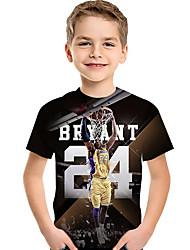 Недорогие -Дети Дети (1-4 лет) Мальчики Активный Классический Фантастические звери Геометрический принт Контрастных цветов 3D С принтом С короткими рукавами Футболка Черный