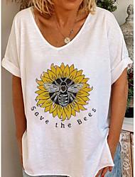 cheap -Women's Cartoon Print T-shirt Daily V Neck White