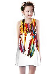 cheap -Kids Girls' Basic Cute Flamingos Geometric Color Block Animal Print Sleeveless Knee-length Dress White