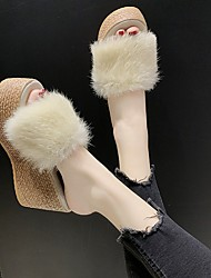 cheap -Women's Sandals Wedge Sandals Furry Feather Summer Wedge Heel Open Toe Daily PU Black / Purple / Pink
