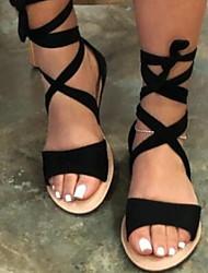cheap -Women's Sandals Boho / Beach Flat Sandals Summer Flat Heel Peep Toe Roman Shoes Daily PU Black / Burgundy / Khaki