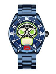 Недорогие -Муж. Часы-кольцо Цифровой Старинный Стильные Нержавеющая сталь Натуральная кожа Черный / Белый / Синий 30 m Защита от влаги Календарь Новый дизайн Аналого-цифровые Череп Cool - Черный + Gloden