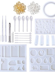 cheap -Silicone Mold Set DIY Clay Epoxy Resin Casting and Tools Set with Storage Bag for Jewelry Ring Earring Pendant 62 Pcs Lot