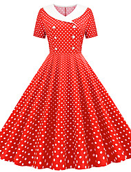 cheap -Women's White Sheath Dress - Short Sleeves Polka Dot Print V Neck Vintage Style Daily Butterfly Sleeve Belt Not Included Slim Red Blushing Pink Navy Blue Light Blue S M L XL XXL