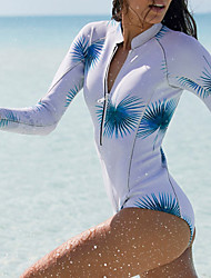 cheap -Women's One Piece Swimsuit Leaves Print Padded Swimwear Swimwear White Thermal Warm Breathable Quick Dry Long Sleeve - Swimming Surfing Water Sports Autumn / Fall Spring / Stretchy