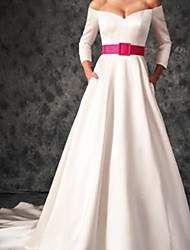 cheap -A-Line Wedding Dresses Off Shoulder Sweep / Brush Train Satin 3/4 Length Sleeve Country Plus Size with Sashes / Ribbons 2020