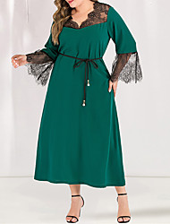 cheap -Women's Plus Size Maxi A Line Dress - Long Sleeve Solid Color Lace Spring & Summer Fall & Winter Square Neck Casual Elegant Party Daily Flare Cuff Sleeve Belt Not Included Green L XL XXL XXXL XXXXL