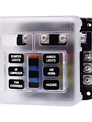 cheap -32V Car automatic Circuit Breaker / Independent Positive and Negative One in and Multiple out Fuse Box with LED Indicator Light 1 in 6 out / Send Double Fuse / Environmental Protection Material