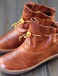 cheap -Women's Boots Flat Heel Round Toe PU Mid-Calf Boots Winter Brown / Black / Gray